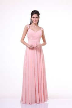 An elegant simple long bridesmaid dress. Features beaded sheer cap sleeves with shirred bodice and pleated empire waist. Gathered waistline and flowy floor leng
