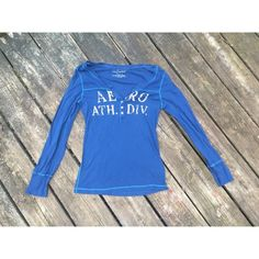 Blue and white long sleeve shirt Worn once. No stains or damages. Has little buttons ver cute Aeropostale Tops Tees - Long Sleeve