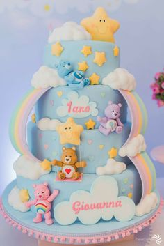 30 Trendy Cupcakes Decoration For Girls Baby Shower Party Themes Care Bear Birthday, Care Bear Party, Baby Birthday Cakes, 1 Year Old Birthday Cake, 1 Year Old Cake, Baby Shower Cupcakes, Shower Cakes, Bolo Laura, Care Bear Cakes