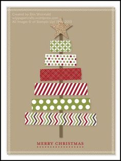 Digital Washi Tape Christmas Tree Card by WIP Paper Crafts - Cards and Papers - Christmas Cards Christmas Card Crafts, Homemade Christmas Cards, Christmas Tree Cards, Homemade Cards, Handmade Christmas, Holiday Crafts, Christmas Decorations, Christmas Christmas, Christmas Card Designs