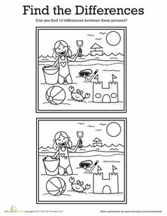 Worksheets: Find the Differences: At the Beach