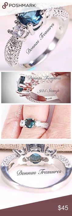 ❤️.75 Carat Aquamarine Birthstone Ring This striking ring features an approximate 3/4 carat lab created aquamarine flanked by White Sapphires. The setting is Sterling Silver with etching on the sides to give the illusion of additional stones. Jewelry Rings