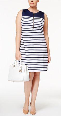 Plus Size Striped Sheath Dress