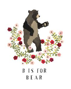 sweet and whimsical... she also does custom house paintings.     B is for Bear Archival Art print by Rebekkaseale on Etsy, $17.00