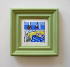 Original framed acrylic beach painting green frame by BrookeHowie