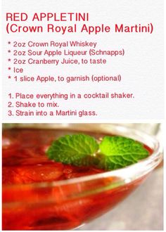 RED APPLETINI (Crown Royal Apple Martini)