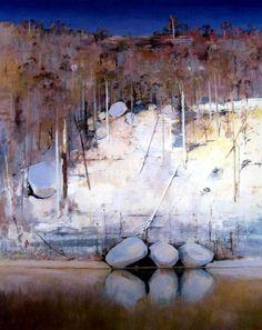 [ B ] Arthur Boyd - Shoalhaven River Bank Impressionist Landscape, Abstract Landscape Painting, Landscape Art, Landscape Paintings, Landscapes, Tree Paintings, Landscape Photography, Abstract Art, Australian Painting
