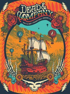 Dead and Company Setlist and Video Rock Posters, Band Posters, Concert Posters, Grateful Dead Image, Grateful Dead Poster, 60s Art, 70s Sci Fi Art, Surealism Art, Musik Illustration