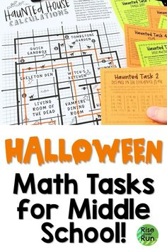 Challenge students with a variety of math tasks about concepts from 6th, 7th, and 8th grade. Great for student choice, extra credit, or early finishers.  These can be used for math stations, groups, or partners throughout October.   Topics include area Fun Math Activities, Math Resources, Area And Perimeter, Halloween Math, Extra Credit, 7th Grade Math, Early Finishers, School Subjects, Math Concepts