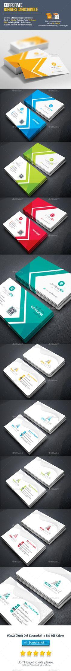 Business Cards Template Vector EPS, AI Illustrator Bundle