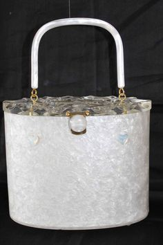 Vintage 1950s Rialto White Marbled Lucite Oval Tapered Box Bag Clear Carved Lid