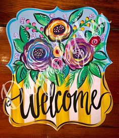 This plaque floral door hanger is painted on bright color florals and stripes. Can be customized. Wooden Cutouts, Wooden Shapes, Wooden Door Signs, Wooden Doors, Crafts To Sell, Diy Crafts, Welcome Signs Front Door, Burlap Door Hangers, Wooden Hangers