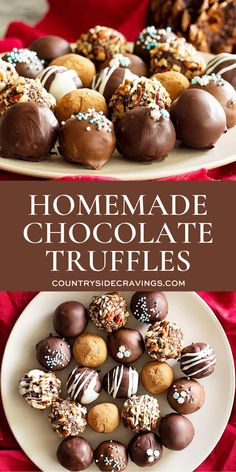 chocolate truffles Homemade Chocolate Truffles are SO EASY to make! You can get those decadent and creamy truffles at home with just a few simple ingredients. Homemade Truffles, Homemade Candies, Easy Chocolate Truffles, Homemade Chocolate Recipes, Homemade Chocolates, Basic Chocolate Truffle Recipe, Healthy Truffle Recipe, Chocolate Balls Recipe, Chocolate Truffle Cake