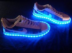 Want to be seen? This geeky LED shoe kit will have you sport 20 vibrant colors around the sole of your shoe in a matter of minutes. Gadgets For Dad, Car Gadgets, Nike Shoes, Shoes Sneakers, Rave Costumes, Shoulder Massage, Wearable Technology, Walk On, Your Shoes