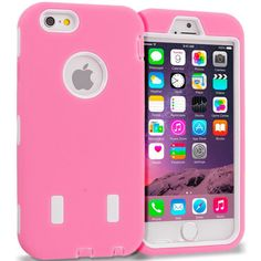 Light Pink / White Hybrid Deluxe Hard/Soft Case Cover for Apple iPhone 6 6S Plus