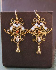 Купить серьги Treasure - золотой, черный, белый, сверкание, блеск, крест, роскошное, вечернее, можное