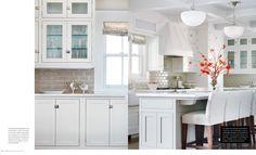 White cabinets, glossy beamed ceiling, beveled backsplash tile by Michael S. Smith for Ann Sacks, vintage-style lighting via: caitlin wilson design: style files