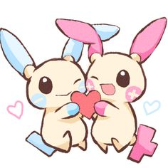Pokemon- Plusle and Minun.