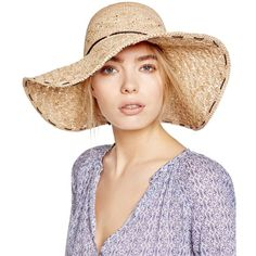 Kathy Jeanne Raffia Floppy Hat ($35) ❤ liked on Polyvore featuring accessories, hats, natural, floppy hats, kathy jeanne hats and raffia hat