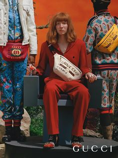 Ironic phrases by artist Coco Capitán define new men's belt bags featuring the House's logo prints, part of the Gucci Fall Winter 2017 collection by Alessandro Michele.