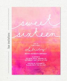 ombre watercolor sweet 16 birthday invitation, pink magenta orange coral dip dye watercolor, chic modern teen birthday party invitation 458 by hueinvitations on Etsy https://www.etsy.com/listing/206235856/ombre-watercolor-sweet-16-birthday