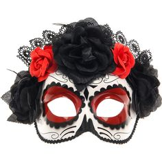 Day of The Dead Mask, Halloween Costumes, Halloween, all, Masks, Dress... ($16) ❤ liked on Polyvore featuring costumes, mask, ladies costumes, lady costumes, black costume, womens fancy dress costumes and womens costumes