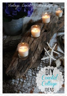 DIY Coastal Decor ~ Driftwood Centerpiece By Dee Duncan Vintage Country Style  http://www.vintagecountrystyle.blogspot.com/