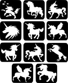 Refill Stencils Only - 11 X Unicorn Glitter Tattoo Stencils - Face Painting And Airbrush Stencils Glitter Tattoos, Glitter Tattoo Stencils, Unicorn Stencil, Unicorn Art, Face Painting Stencils, Stencil Painting, Silhouette Cameo, My Little Pony Unicorn, Airbrush Tattoo