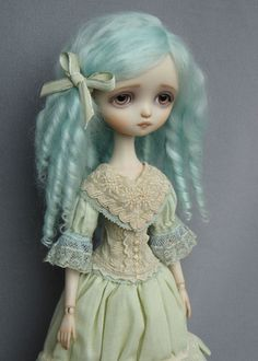 """Dragonfly Works (Ana Salvador) doll """"Julie"""", with blue hair"""