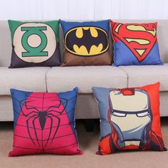 Super hero in the marvel movie Superman, spider man and iron man pillow thick cotton pillowcase with art pattern