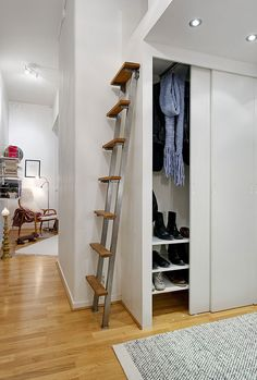 Scandinavian Apartment 141 Small Apartment Displaying Clever Design Solutions in Gothenburg Small Space Interior Design, Small Apartment Design, Small Apartments, Apartment Layout, Studio Apartments, Apartment Interior, Apartment Living, Living Room, Tiny House Stairs