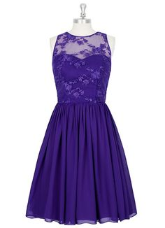 AZAZIE VICTORIA. Style Victoria by Azazie is a knee-length A-line/princess bridesmaid dress in an exquisite chiffon and lace. #Bridesmaid #Wedding #CustomDresses #AZAZIE