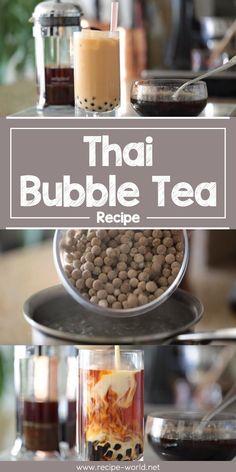 Thai Bubble Tea Recipe world cuisine recipes Thai Tea Recipes, Milk Tea Recipes, Weight Loss Tea, Bubble Recipe, Yummy Drinks, Healthy Drinks, Yummy Food, Boba Tea Recipe, Recipes
