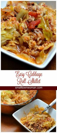 Cabbage Roll Casserole This scrumptious recipe includes all the familiar ingredients that you find in your cabbage roll recipe; cabbage, ground beef, onions, garlic rice, tomatoes and seasonings. Easy Cabbage Rolls, Cabbage Rolls Recipe, Cabbage Recipes, Rice Recipes, Casserole Recipes, Vegetable Recipes, Beef Recipes, Dinner Recipes, Cooking Recipes
