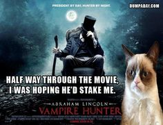 grumpy cat movie reviews, abraham lincoln vampire slayer