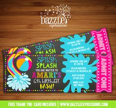 Printable Girl Pool Party Chalkboard Birthday Invitation | Water Park Invite | Beach Ball Invite | Pool Ticket Invite | Waterpark | Swimming | Splash | Water Slide | Summer Water Party | FREE thank you card included | Printable Matching Party Package Decorations Available! Banner | Signs | Labels | Favor Tags | Water Bottle Labels and more! www.dazzleexpressions.com