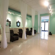 Mint green n white salon decor
