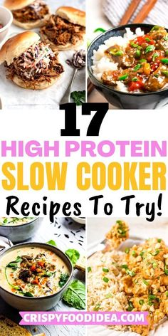 Healthy High Protein Meals, High Protein Dinner, Protein Lunch, High Protein Vegetarian Recipes, Healthy Crockpot Recipes, High Protein Chicken Recipes, Slow Cooker Recipes, Protein Foods, Keto Recipes