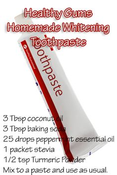 Homemade Coconut Oil #Whitening #Toothpaste   Anti-bacterial coconut is great for gums and whitening teeth! *I added a little ground cinnamon and both Peppermint and OnGuard essential oils -didn't really follow measurements, just mixed it up until I liked the consistency.  Love it!