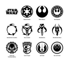 Hi-quality Star Wars vector emblems set Ai, Eps, PDF - files in archive • Star Wars Galactic Empire vector emblem • Star Wars Rebel Alliance vector emblem • Star Wars New Rep...