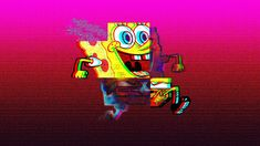 Spongebob illustration wallpaper, vaporwave, VHS, Run, squarepants, art and craft Latest Hd Wallpapers, Movie Wallpapers, 1080p Wallpaper, Cool Wallpaper, Nickelodeon Spongebob, Vaporwave Wallpaper, Spongebob Square, Star Illustration, Neon Aesthetic