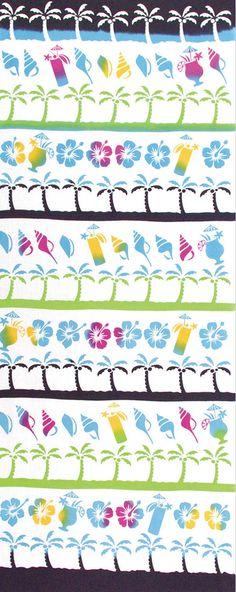 Japanese Tenugui Towel Cotton Fabric, Tropical Beach, Blue Sea, Shell, Summer Flower, Hand Dyed Fabric, Modern Art Wall, Home Decor, JapanLovelyCrafts