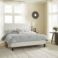 Luxury Home Modern Hannah Tufted Leather Platform Bed, Twin, White - http://aluxurybed.com/product/luxury-home-modern-hannah-tufted-leather-platform-bed-twin-white/