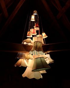 cool re-used lampshade chandelier