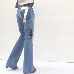 Art Boot-cut jeans High-Waisted LOLA DARLING Original Selected Vintage Levis Recovered Print Denim Zip Regular fit Numbers and Stripes di loladarlingirl su Etsy