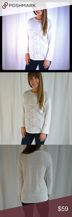 💕Skovhuus Sweater Pale gray and cream pattern soft sweater!                                50% Bomuld Cotton 50% Acyrlic Skovhuus Sweaters Crew & Scoop Necks