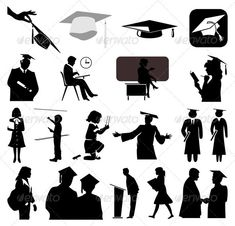 #School - People Characters #silhouettes #people #characters #isolated #illustration #vector #template