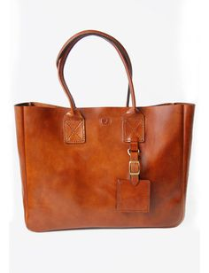 Handstitched Cognac Leather Zippered Tote Bag ($190.00)
