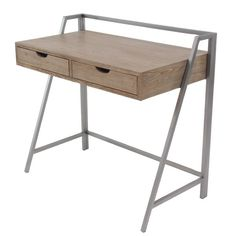 Wood metal desk in light brown finish, features minimalist design, with a rectangular table and 2 drawers. Metal brace in smooth silver finish.