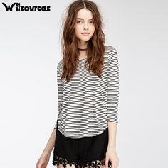 >> Click to Buy << Witsources women simple stripe t shirts 2017 new loose casual side slit tops for woman t shirt ST2632 #Affiliate